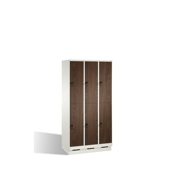 Schließfachschrank, Fächerschrank, Spindschrank, 6 Fächer (2 x 3) a 400 mm, Farbe lichtgrau, Türen Holzdekor Ahorn, 1.800 x 1.200 x 500 mm (HxBxT) online kaufen - Verwendung 2