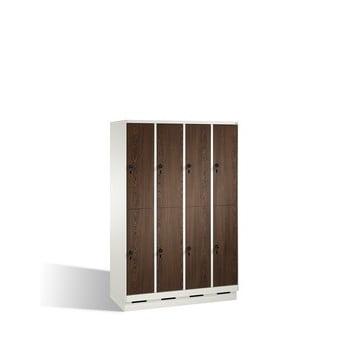 Schließfachschrank, Fächerschrank, Spindschrank, 8 Fächer (2 x4) a 300 mm, Farbe lichtgrau, Türen Holzdekor Esche, 1.800 x 1.200 x 500 mm (HxBxT)
