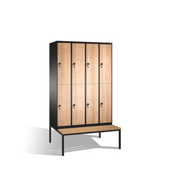 Garderobenschrank, Umkleide mit Sitzbank, 8 Fächer (2 x 4) a 400 mm, Farbe schwarzgrau, Türen Holzdekor Eiche, 2.090 x 1.600 x 815 mm (HxBxT)