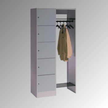 Garderobenanlage, Offene Garderobe mit Spindschrank, 5 Fächer, links, Korpusfarbe lichtgrau, Türfarbe enzianblau, 1.950 x 960 x 480 mm (HxBxT)
