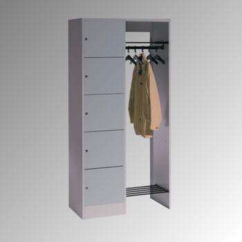 Garderobenanlage, Offene Garderobe mit Spindschrank, 5 Fächer, links, Korpusfarbe lichtgrau, Türfarbe resedagrün, 1.950 x 960 x 480 mm (HxBxT)