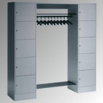 Garderobenanlage, Offene Garderobe mit Spindschrank, 10 Fächer, links/rechts, Korpus lichtgrau, Türfarbe resedagrün, 1.950 x 1.870 x 480 mm (HxBxT)