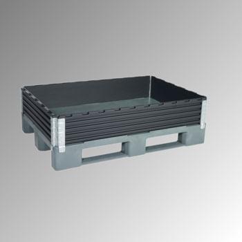 Palettenaufsatzrahmen für Europalette (800 x 1.200 mm) - faltbar - 4 Scharniere - Nutzhöhe 200 mm - schwarz