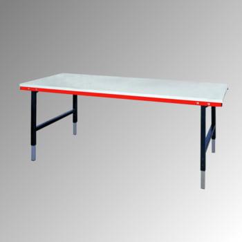 Packtisch - Traglast 300 kg - höhenverstellbar 690-960 mm - 2.000 x 920 mm (BxT) - anthrazit/rubinrot
