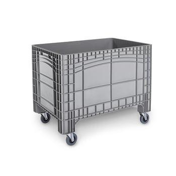 PE Palettenbox - fahrbar - 220 l - 670 x 1.040 x 640 mm (HxBxT) - Wände geschlossen - grau