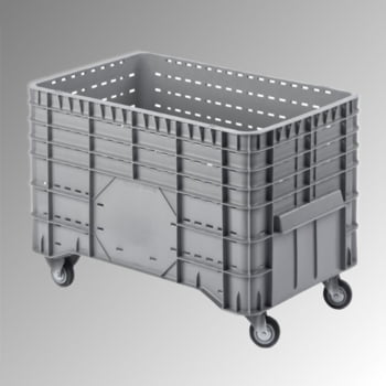 PE Palettenbox - fahrbar - 300 l - 700 x 1.020 x 640 mm (HxBxT) - Wände durchbrochen - grau