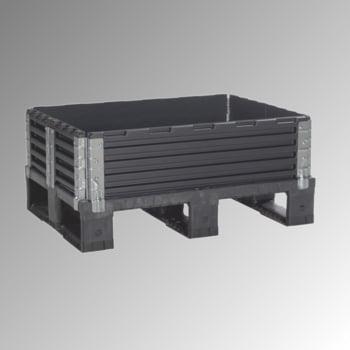 Palettenaufsatzrahmen für Halbpalette (800 x 600 mm) - faltbar - 6 Scharniere - Nutzhöhe 200 mm - schwarz