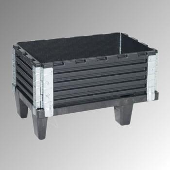 Palettenaufsatzrahmen für Viertelpalette (600 x 400 mm) - faltbar - 4 Scharniere - Nutzhöhe 200 mm - schwarz