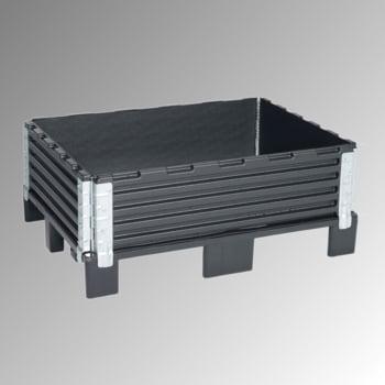 Palettenaufsatzrahmen für Halbpalette (800 x 600 mm) - faltbar - 4 Scharniere - Nutzhöhe 200 mm - schwarz
