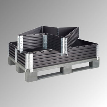 Palettenaufsatzrahmen für Europalette (800 x 1.200 mm) - faltbar - 6 Scharniere - Nutzhöhe 200 mm - schwarz