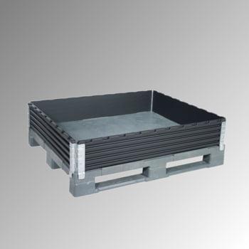 Palettenaufsatzrahmen für Industriepalette (1.000 x 1.200 mm) - faltbar - 4 Scharniere - Nutzhöhe 200 mm - schwarz