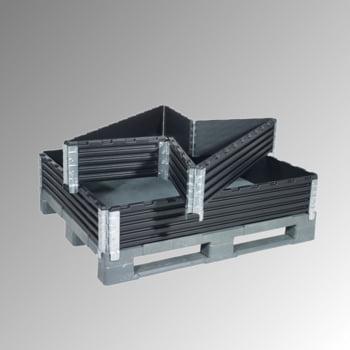 Palettenaufsatzrahmen für Industriepalette (1.000 x 1.200 mm) - faltbar - 6 Scharniere - Nutzhöhe 200 mm - schwarz
