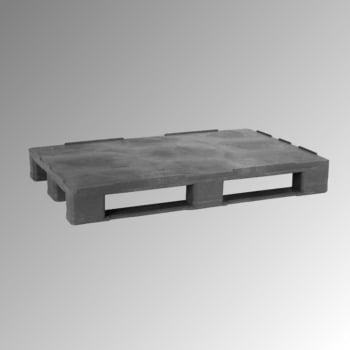 Kunststoff Palette mit Rand - Polyethylen (PE-RE) - Anti-Rutsch - Eisenverstärkung - Traglast 2.500 kg - 155 x 1.000 x 1.200 mm (HxBxT) - grau