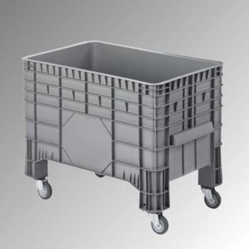 PE Palettenbox - fahrbar - 285 l - 790 x 1.040 x 640 mm (HxBxT) - Wände geschlossen - grau