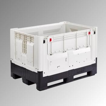 Palettenbox mit Kufen - Polyethylen - klappbar - Traglast 650 kg - 805 x 1.200 x 1.000 mm (HxBxT) - weiß/schwarz