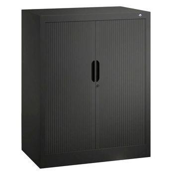 C+P Omnispace, Rollladenschrank, Aktenschrank, Büroschrank, Stahlschrank, abschließbar, 2 Fachböden, Farbe schwarzgrau, 1.230 x 800 x 420 mm (HxBxT)