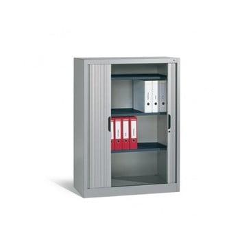 C+P Omnispace, Rollladenschrank, Aktenschrank, Büroschrank, Stahlschrank, abschließbar, 3 Fachböden, Farbe lichtgrau, 1.660 x 1.200 x 420 mm (HxBxT)