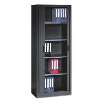 C+P Omnispace, Rollladenschrank, Aktenschrank, Büroschrank, Stahlschrank, abschließbar, 4 Fachböden, Farbe schwarzgrau, 1.980 x 1.200 x 420 mm (HxBxT)