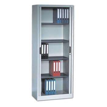 C+P Omnispace, Rollladenschrank, Aktenschrank, Büroschrank, Stahlschrank, abschließbar, 4 Fachböden, Farbe lichtgrau, 1.980 x 1.200 x 420 mm (HxBxT)