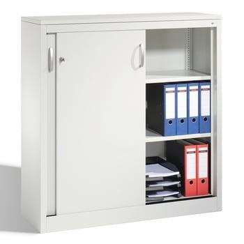 Stahl Schiebetürenschrank, Aktenschrank, Büroschrank, 2 Fachböden, Korpusfarbe lichtgrau, Frontfarbe lichtgrau, 1.200 x 1.200 x 400 mm (HxBxT)