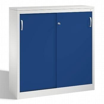 Stahl Schiebetürenschrank, Aktenschrank, Büroschrank, 2 Fachböden, Korpusfarbe lichtgrau, Frontfarbe enzianblau, 1.200 x 1.200 x 400 mm (HxBxT)
