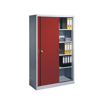 Stahl Schiebetürenschrank, Aktenschrank, Büroschrank, 8 Fachböden, Korpusfarbe lichtgrau, Frontfarbe rubinrot, 1.950 x 1.600 x 400 mm (HxBxT)