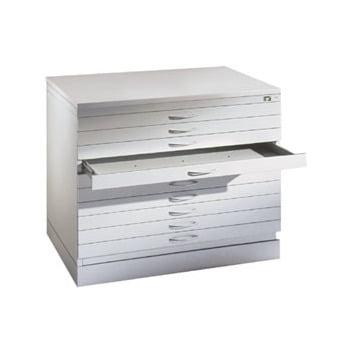 Zeichenschrank, Planschrank, Architektenschrank, Flachablageschrank, DIN A0, 10 Schubladen, Farbe lichtgrau, 760 x 1.350 x 960 mm (HxBxT)