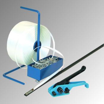 Umreifungs-Set - Polyester Kraftband - Bandbreite 16 mm - Spanner - Abrollständer - Bandlänge 850 m