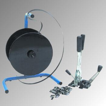 Umreifungs-Set - Bandbreite 13 mm - einteiliges Spann- und Verschlussgerät - Abrollwagen - 500 m PP Kunststoffband