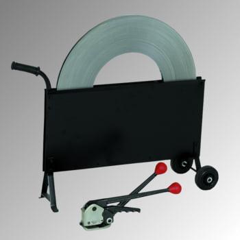 Umreifungs-Set - Stahlband - Bandbreite 16 mm - Stahlbandspanner - hülsenlos - Abrollwagen - Bandlänge 240 m