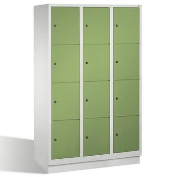Spindschrank, Schließfächer, Wertsachenschrank mit Sockel, 12 Fächer (4 x 3) je 400 mm, Farbe lichtgrau/resedagrün, 1.800 x 1.200 x 500 mm (HxBxT)
