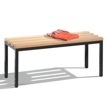 C+P Sitzbank für Umkleide und Garderobe in Verein oder Schule, Gestellfarbe lichtblau, Hartholzleisten, 420 x 1.000 x 353 mm (HxBxT)