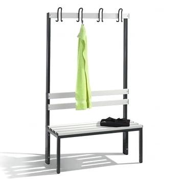 C+P Sitzbank für Umkleide und Garderobe, mit Rückenlehne und 4 Doppelhaken, Gestellfarbe rubinrot, Kunststoffleisten, 1.650 x 1.000 x 403 mm (HxBxT)