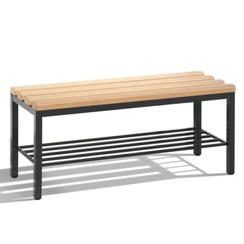 C+P Sitzbank für Umkleide und Garderobe in Verein oder Schule, mit Schuhrost, Gestellfarbe lichtgrau, Hartholzleisten, 420 x 1.000 x 353 mm (HxBxT)