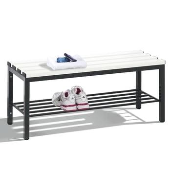 C+P Sitzbank für Umkleide und Garderobe in Verein oder Schule, Schuhrost, Gestellfarbe schwarzgrau, Kunststoffleisten, 420 x 1.000 x 353 mm (HxBxT)