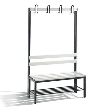 C+P Sitzbank für Umkleide und Garderobe, Rückenlehne, 4 Doppelhaken, Schuhrost, Gestell rubinrot, Kunststoffleisten, 1.650 x 1.000 x 403 mm (HxBxT)