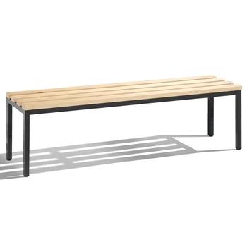 C+P Sitzbank für Umkleide und Garderobe in Verein oder Schule, Gestellfarbe schwarzgrau, Hartholzleisten, 420 x 1.500 x 353 mm (HxBxT)