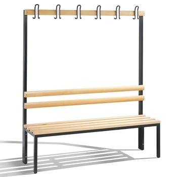 C+P Sitzbank für Umkleide und Garderobe, mit Rückenlehne und 6 Doppelhaken, Gestellfarbe rubinrot, Hartholzleisten, 1.650 x 1.500 x 403 mm (HxBxT)