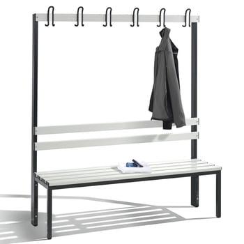C+P Sitzbank für Umkleide und Garderobe, mit Rückenlehne und 6 Doppelhaken, Gestellfarbe lichtgrau, Kunststoffleisten, 1.650 x 1.500 x 403 mm (HxBxT)