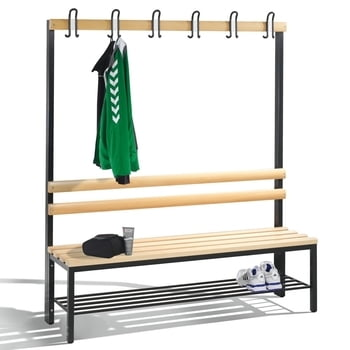 C+P Sitzbank für Umkleide und Garderobe, Rückenlehne, 6 Doppelhaken, Schuhrost, Gestell lichtgrau, Hartholzleisten, 1.650 x 1.500 x 403 mm (HxBxT)