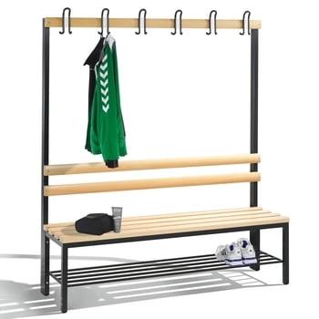 C+P Sitzbank für Umkleide und Garderobe, Rückenlehne, 6 Doppelhaken, Schuhrost, Gestell rubinrot, Hartholzleisten, 1.650 x 1.500 x 403 mm (HxBxT)