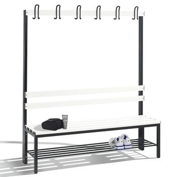 C+P Sitzbank für Umkleide und Garderobe, Rückenlehne, 6 Doppelhaken, Schuhrost, Gestell rubinrot, Kunststoffleisten, 1.650 x 1.500 x 403 mm (HxBxT)