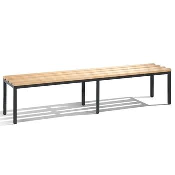 C+P Sitzbank für Umkleide und Garderobe in Verein oder Schule, Gestellfarbe schwarzgrau, Hartholzleisten, 420 x 1.960 x 353 mm (HxBxT)