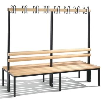 C+P Sitzbank für Umkleide und Garderobe, beidseitig, Rückenlehne, 16 Doppelhaken, Gestell lichtgrau, Hartholzleisten, 1.650 x 1.960 x 756 mm (HxBxT)