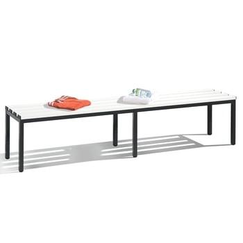 C+P Sitzbank für Umkleide und Garderobe in Verein oder Schule, Gestellfarbe rubinrot, Kunststoffleisten, 420 x 1.960 x 353 mm (HxBxT)