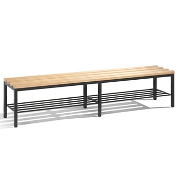 C+P Sitzbank für Umkleide und Garderobe in Verein oder Schule, mit Schuhrost, Gestellfarbe lichtgrau, Hartholzleisten, 420 x 1.960 x 353 mm (HxBxT)