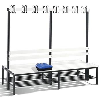 C+P Sitzbank, Umkleide, beidseitig, Rückenlehne, 16 Doppelhaken, Schuhrost, Gestell schwarzgrau, Kunststoffleisten , 1.650 x 1.960 x 756 mm (HxBxT)