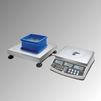Zählwaagen-System - Wägebereich 60 kg - Wiegeschritte 0,1/0,2 g - Edelstahl Wägeplatte 400 x 300 mm (BxT)