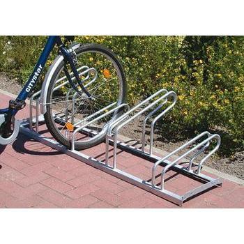 MTB Fahrradständer, Fahrradhalterung, Fahrradbügelparker, einseitig, Radabstand 400 mm, max. Radbreite 53 mm, Kapazität für 4 Mountainbikes