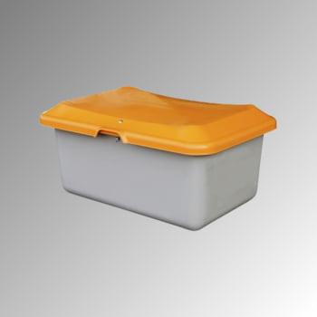 Streugutbehälter für Streusalz, Winterstreumittel, Futtermittel, 100 l Volumen, 340 x 890 x 600 mm (HxBxT), GFK, grau/orange